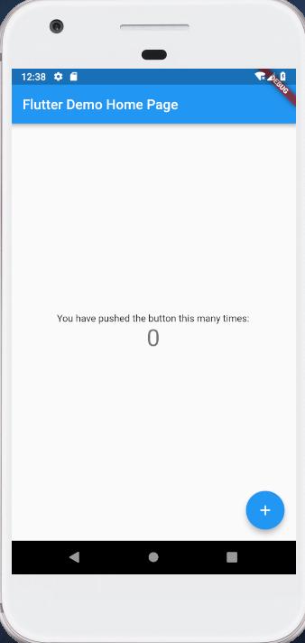 Androidのエミュレーターでのアプリ起動画面